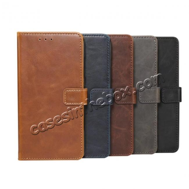 low price Crazy Horse Leather Flip Case Wallet With Card Holder for Huawei P20 - Dark Brown