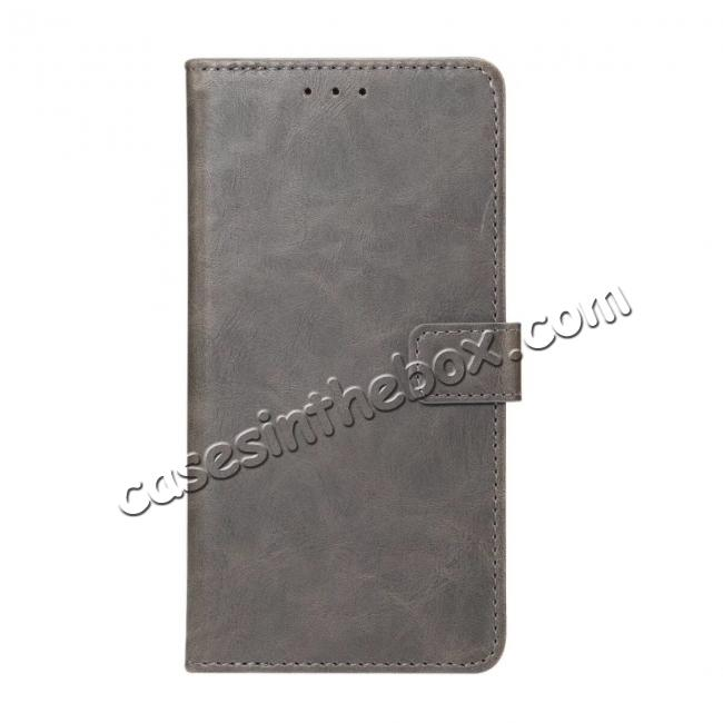 wholesale Crazy Horse Leather Flip Case Wallet With Card Holder for Huawei P20 - Grey