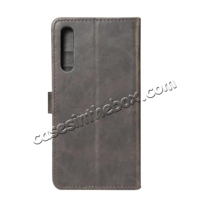 discount Crazy Horse Leather Flip Case Wallet With Card Holder for Huawei P20 - Grey