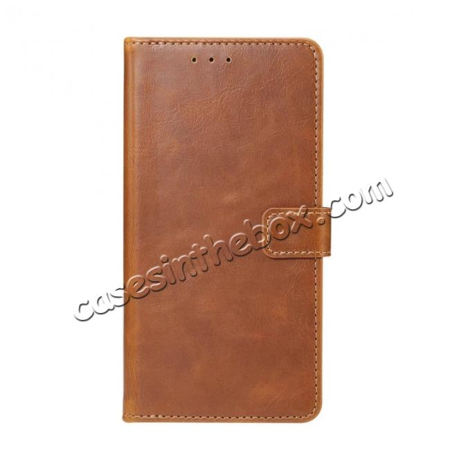 wholesale Crazy Horse Leather Flip Case Wallet With Card Holder for Huawei P20 - Light Brown