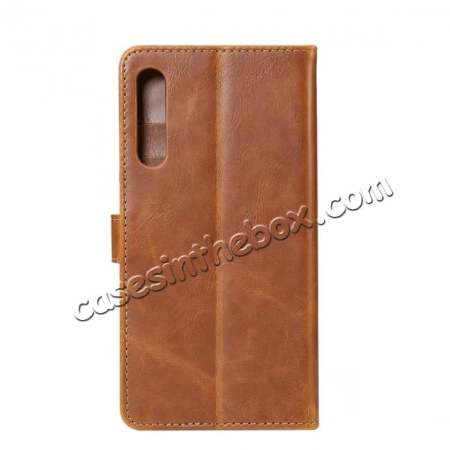 discount Crazy Horse Leather Flip Case Wallet With Card Holder for Huawei P20 - Light Brown