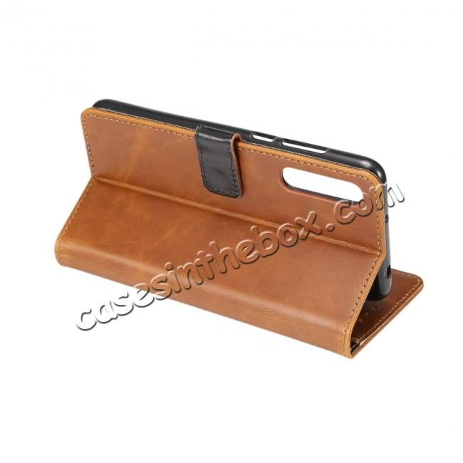 best price Crazy Horse Leather Flip Case Wallet With Card Holder for Huawei P20 - Light Brown