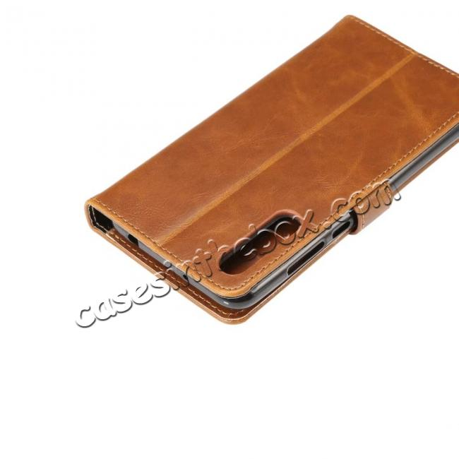 on sale Crazy Horse Leather Flip Case Wallet With Card Holder for Huawei P20 - Light Brown