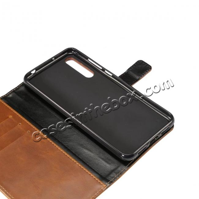 low price Crazy Horse Leather Flip Case Wallet With Card Holder for Huawei P20 - Light Brown