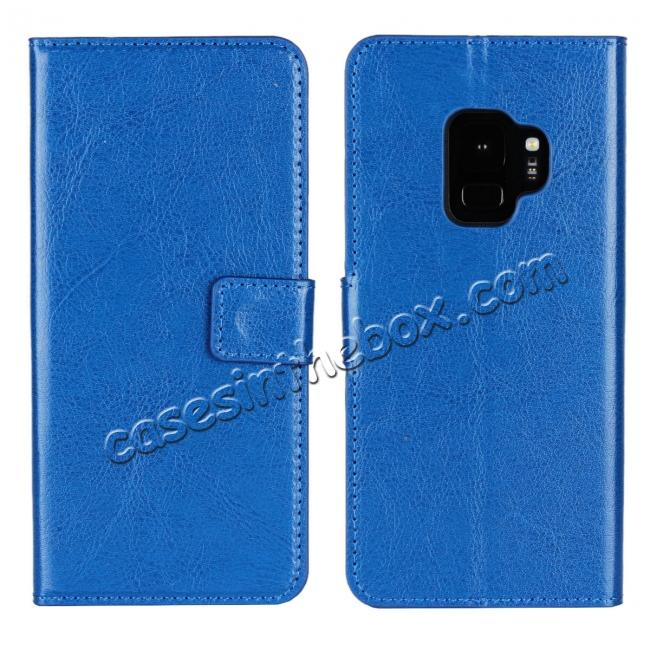 wholesale Crazy Horse Magnetic PU Leather Flip Case Inner TPU Cover for Samsung Galaxy S9 - Blue