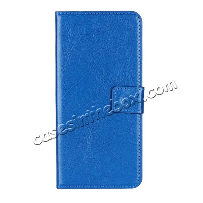 discount Crazy Horse Magnetic PU Leather Flip Case Inner TPU Cover for Samsung Galaxy S9 - Blue