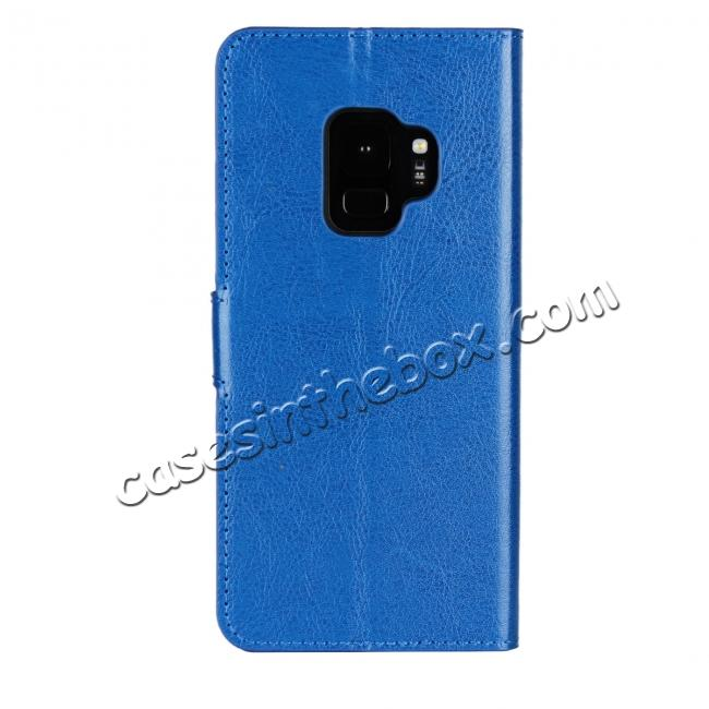 cheap Crazy Horse Magnetic PU Leather Flip Case Inner TPU Cover for Samsung Galaxy S9 - Blue
