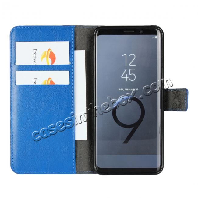 best price Crazy Horse Magnetic PU Leather Flip Case Inner TPU Cover for Samsung Galaxy S9 - Blue