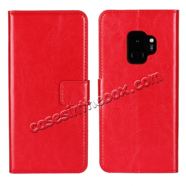 wholesale Crazy Horse Magnetic PU Leather Flip Case Inner TPU Cover for Samsung Galaxy S9 - Red