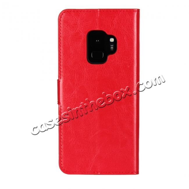 cheap Crazy Horse Magnetic PU Leather Flip Case Inner TPU Cover for Samsung Galaxy S9 - Red