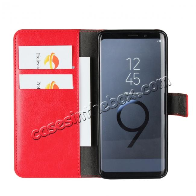 best price Crazy Horse Magnetic PU Leather Flip Case Inner TPU Cover for Samsung Galaxy S9 - Red