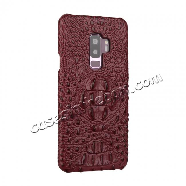 discount Crocodile Head Pattern Genuine Leather Back Cover Case For Samsung Galaxy S9 - Wine Red