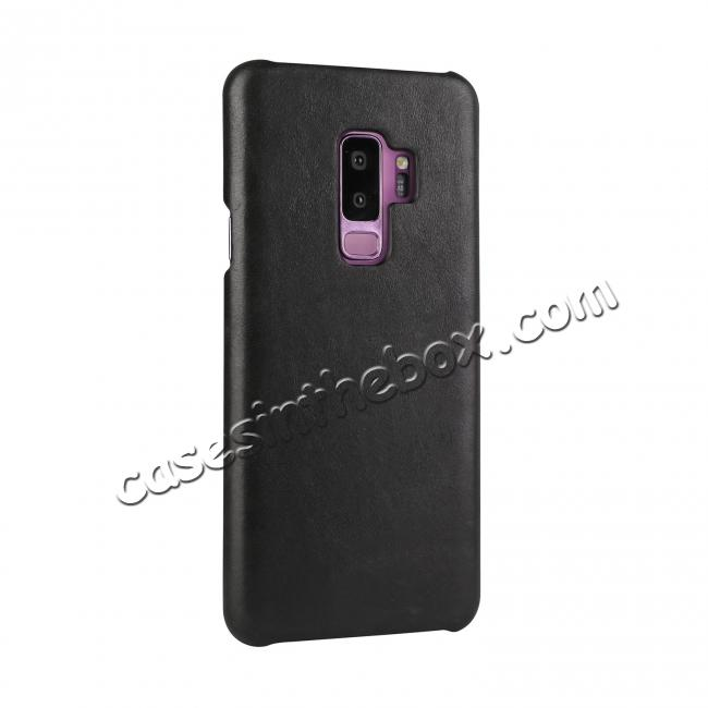 discount Genuine Leather Matte Back Hard Case Cover for Samsung Galaxy S9 - Black