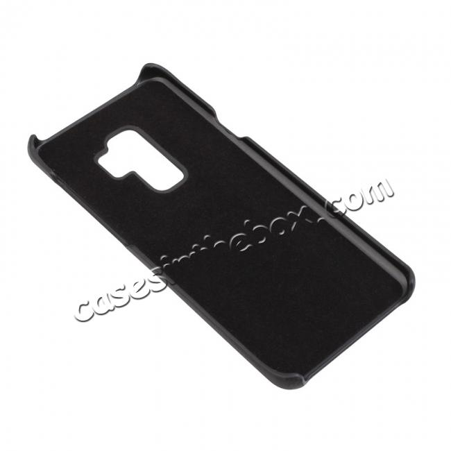 low price Genuine Leather Matte Back Hard Case Cover for Samsung Galaxy S9 - Black