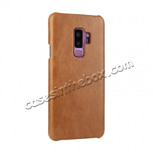 discount Genuine Leather Matte Back Hard Case Cover for Samsung Galaxy S9 - Brown