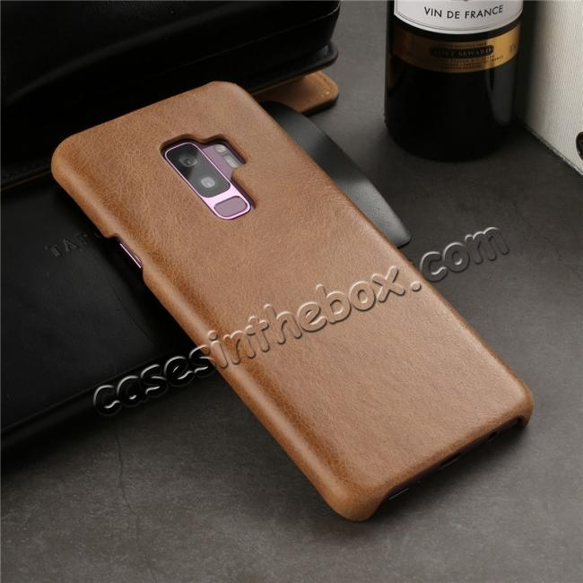 low price Genuine Leather Matte Back Hard Case Cover for Samsung Galaxy S9 - Brown