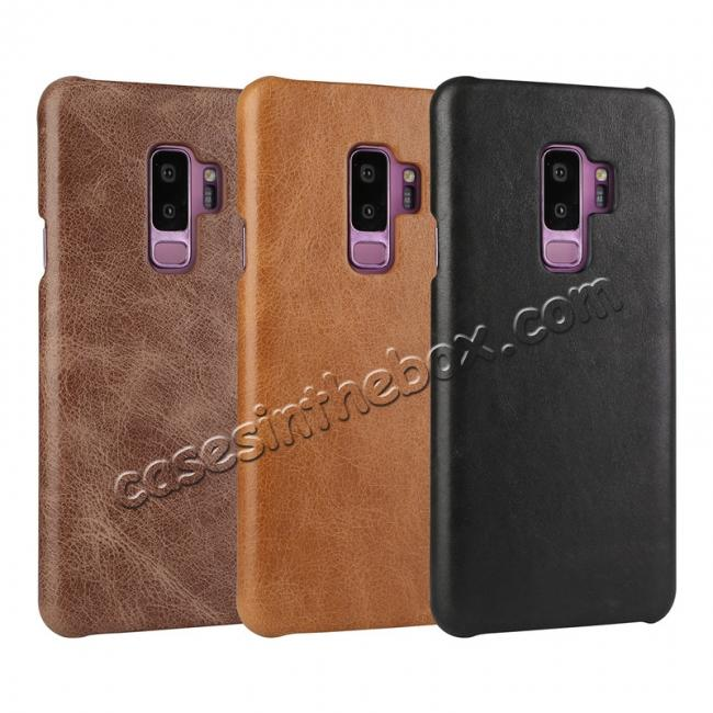 high quanlity Genuine Leather Matte Back Hard Case Cover for Samsung Galaxy S9 - Brown