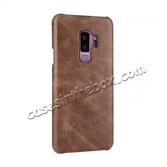discount Genuine Leather Matte Back Hard Case Cover for Samsung Galaxy S9 - Dark Brown