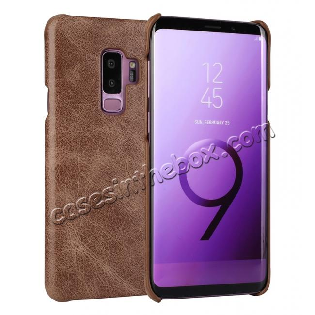wholesale Genuine Leather Matte Back Hard Case Cover for Samsung Galaxy S9 - Dark Brown