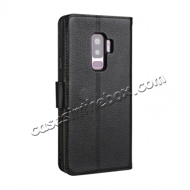 cheap Genuine Leather Wallet Flip Case Stand Credit Card for Samsung Galaxy S9 - Black