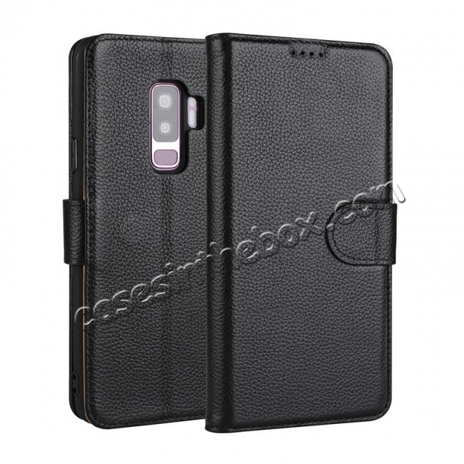 wholesale Genuine Leather Wallet Flip Case Stand Credit Card for Samsung Galaxy S9+ Plus - Black