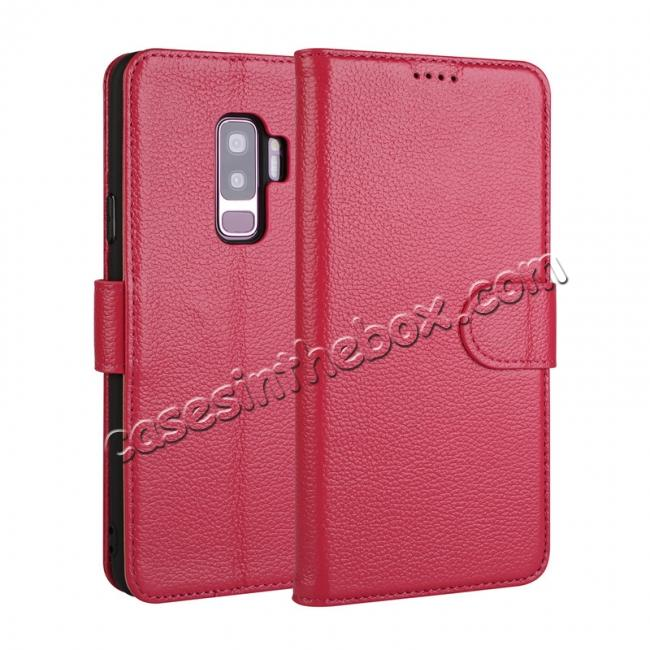wholesale Genuine Leather Wallet Flip Case Stand Credit Card for Samsung Galaxy S9+ Plus - Rose Red