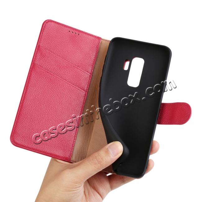 low price Genuine Leather Wallet Flip Case Stand Credit Card for Samsung Galaxy S9+ Plus - Rose Red