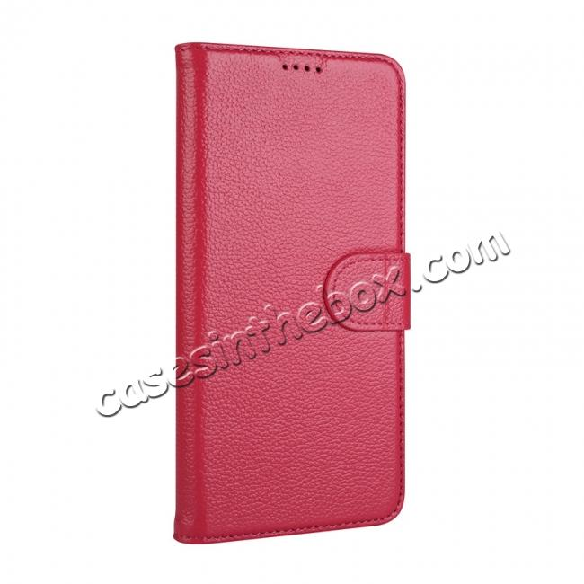 discount Genuine Leather Wallet Flip Case Stand Credit Card for Samsung Galaxy S9 - Rose Red