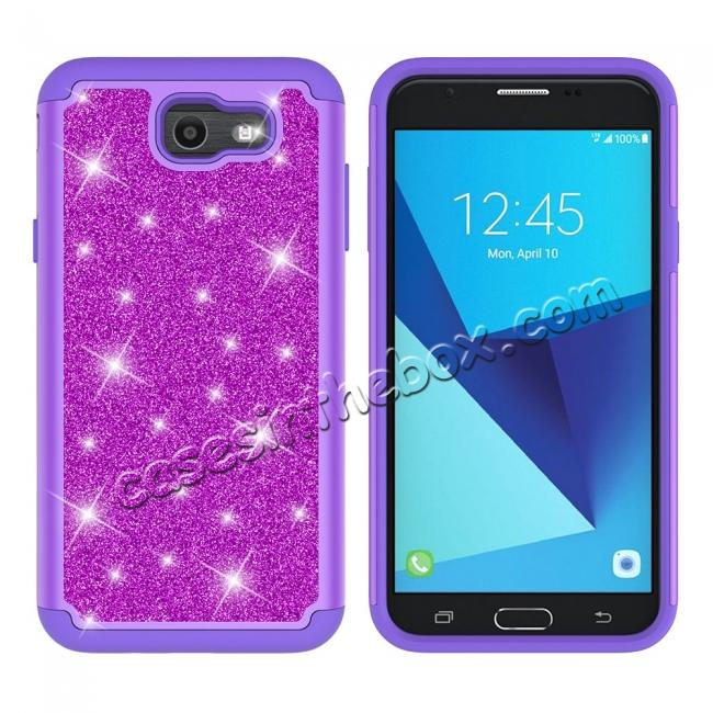 discount Glitter Bling Girls Wome Design Hybrid Dual Layer Protective Case For Samsung Galaxy J7 (2017) / J7 V - Purple