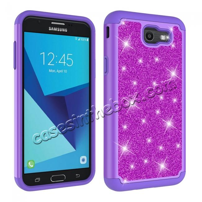cheap Glitter Bling Girls Wome Design Hybrid Dual Layer Protective Case For Samsung Galaxy J7 (2017) / J7 V - Purple