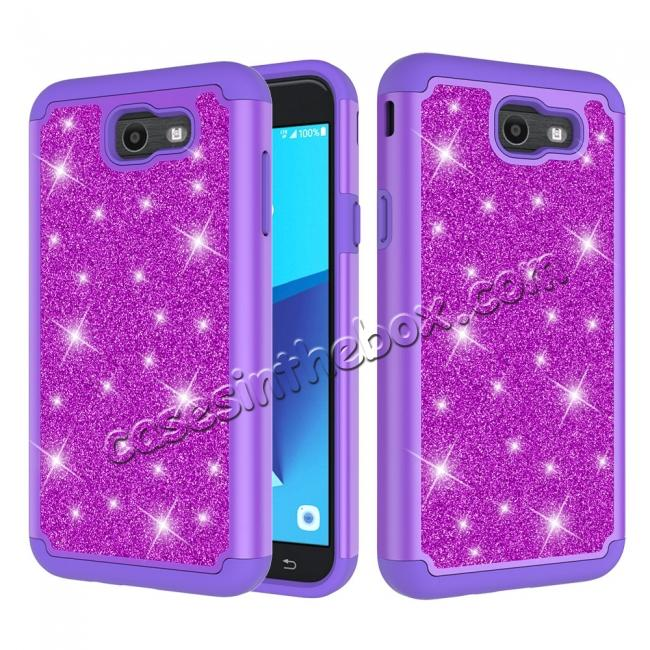 wholesale Glitter Bling Girls Wome Design Hybrid Dual Layer Protective Case For Samsung Galaxy J7 (2017) / J7 V - Purple