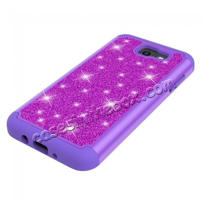 best price Glitter Bling Girls Wome Design Hybrid Dual Layer Protective Case For Samsung Galaxy J7 (2017) / J7 V - Purple