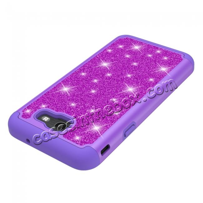 on sale Glitter Bling Girls Wome Design Hybrid Dual Layer Protective Case For Samsung Galaxy J7 (2017) / J7 V - Purple