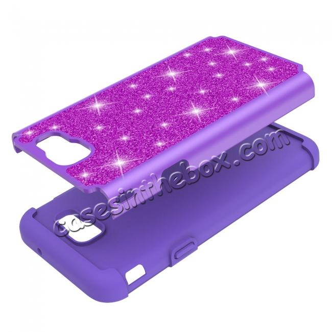 low price Glitter Bling Girls Wome Design Hybrid Dual Layer Protective Case For Samsung Galaxy J7 (2017) / J7 V - Purple