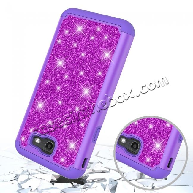 top quality Glitter Bling Girls Wome Design Hybrid Dual Layer Protective Case For Samsung Galaxy J7 (2017) / J7 V - Purple