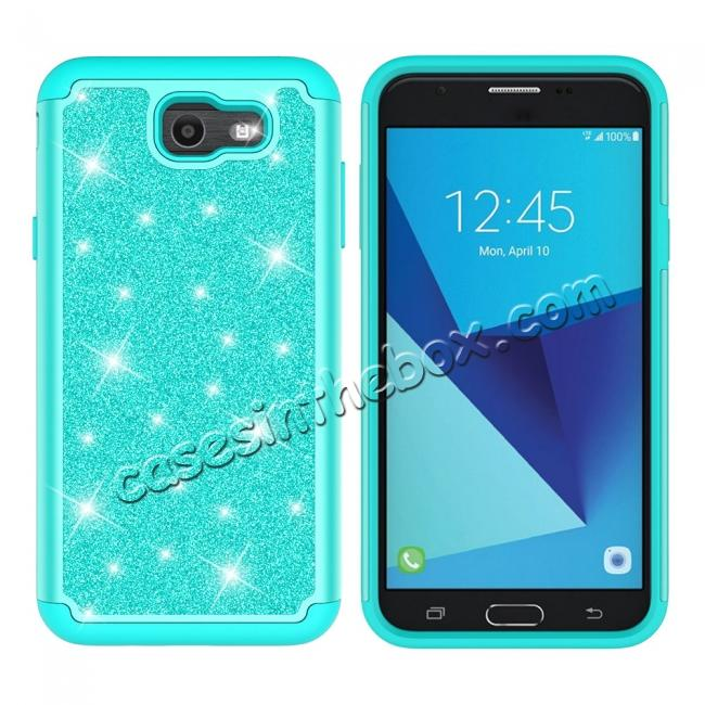 discount Glitter Bling Girls Wome Design Hybrid Dual Layer Protective Case For Samsung Galaxy J7 (2017) / J7 V - Teal