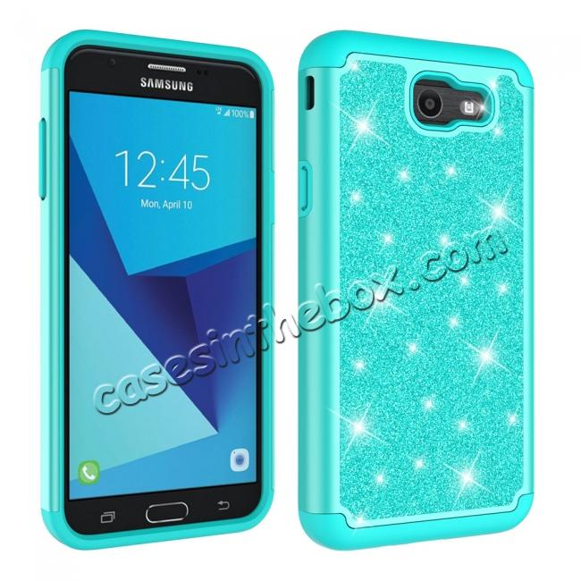 cheap Glitter Bling Girls Wome Design Hybrid Dual Layer Protective Case For Samsung Galaxy J7 (2017) / J7 V - Teal