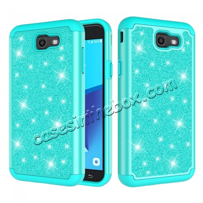 wholesale Glitter Bling Girls Wome Design Hybrid Dual Layer Protective Case For Samsung Galaxy J7 (2017) / J7 V - Teal