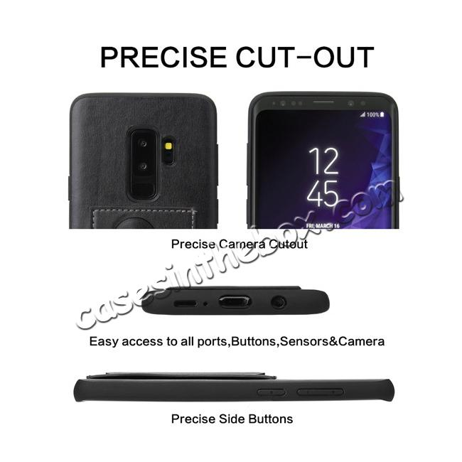 low price Leather Slim Back Cover with Credit Card Slot for Samsung Galaxy S9+ Plus - Black