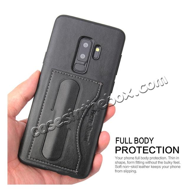 on sale Leather Slim Back Cover with Credit Card Slot for Samsung Galaxy S9+ Plus - Black