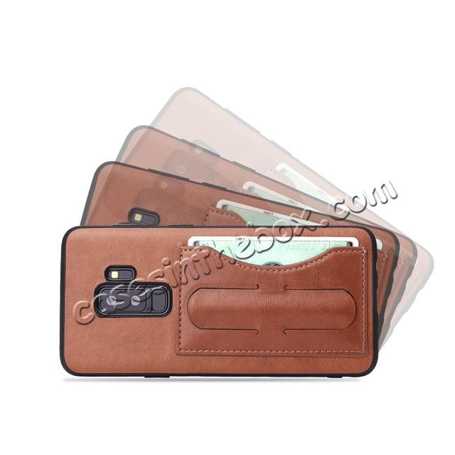 discount Leather Slim Back Cover with Credit Card Slot for Samsung Galaxy S9+ Plus - Brown