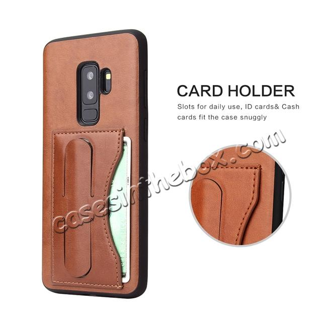 best price Leather Slim Back Cover with Credit Card Slot for Samsung Galaxy S9+ Plus - Brown