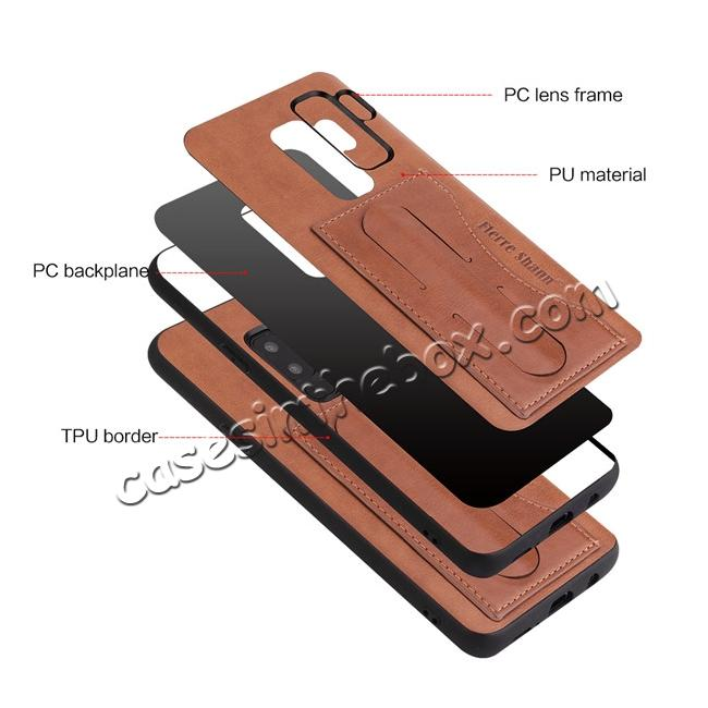 low price Leather Slim Back Cover with Credit Card Slot for Samsung Galaxy S9+ Plus - Brown