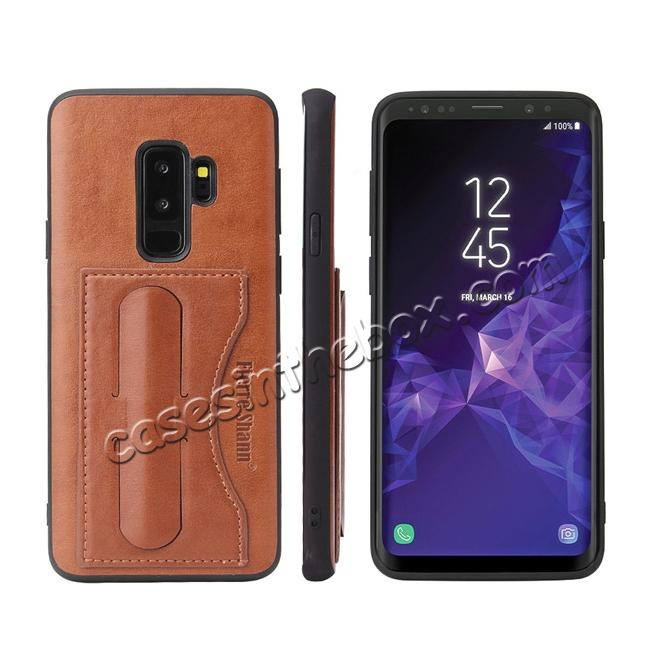 wholesale Leather Slim Back Cover with Credit Card Slot for Samsung Galaxy S9+ Plus - Brown
