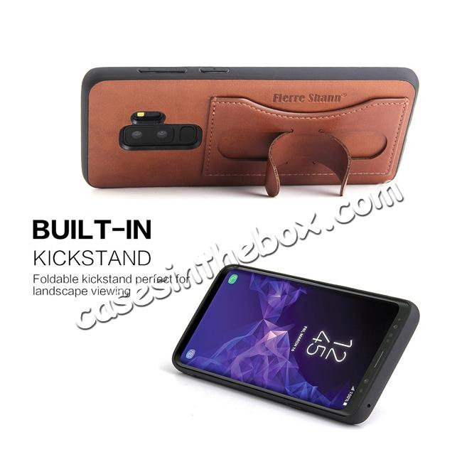 cheap Leather Slim Back Cover with Credit Card Slot for Samsung Galaxy S9+ Plus - Brown