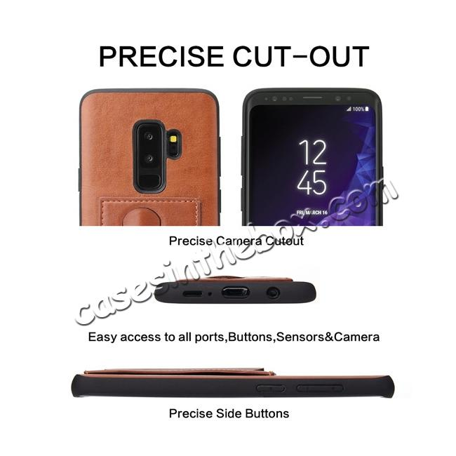 on sale Leather Slim Back Cover with Credit Card Slot for Samsung Galaxy S9+ Plus - Brown