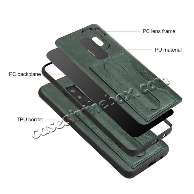 low price Leather Slim Back Cover with Credit Card Slot for Samsung Galaxy S9+ Plus - Green