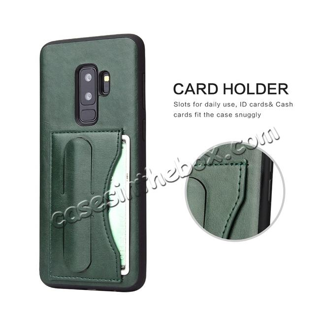best price Leather Slim Back Cover with Credit Card Slot for Samsung Galaxy S9+ Plus - Green
