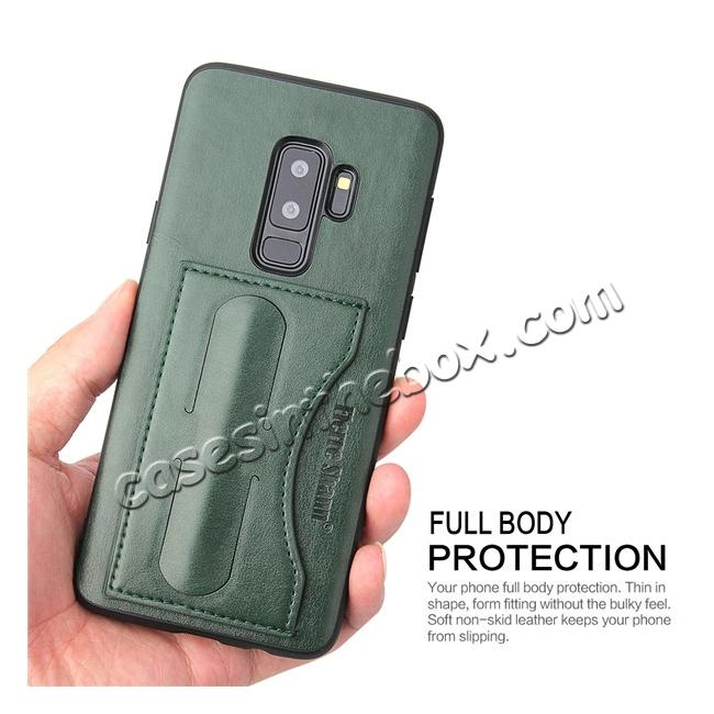 on sale Leather Slim Back Cover with Credit Card Slot for Samsung Galaxy S9+ Plus - Green