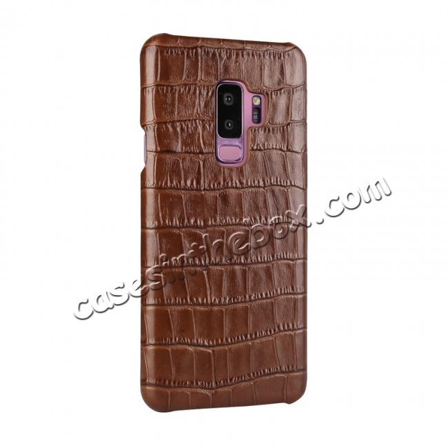 discount Luxury Genuine Real Leather Crocodile Back Case Cover For Samsung Galaxy S9 - Brown